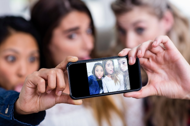 Young female friends taking selfie