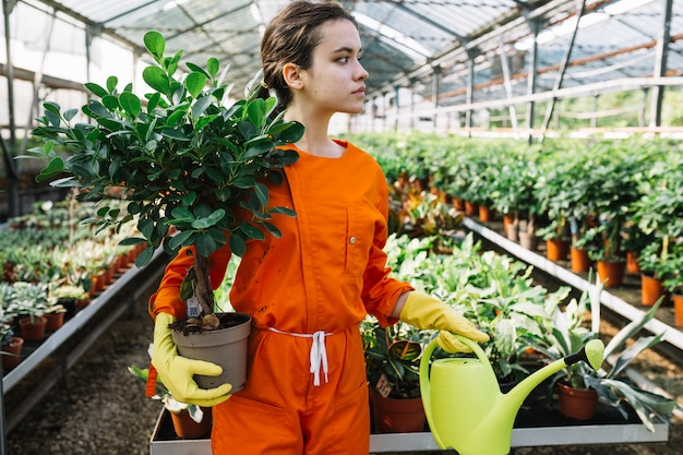 Young female gardener holding potted plant and watering can in greenhouse