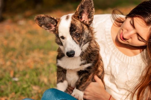 秋の公園でウェールズのコーギー犬を抱き締める若い女性