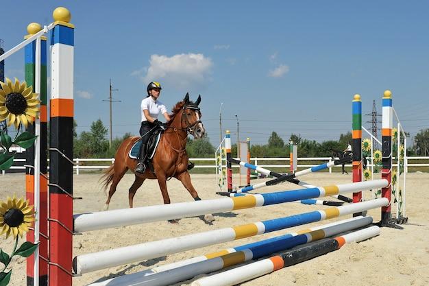 馬に乗った若い女性騎手は、トレーニングの障壁を飛び越えます。