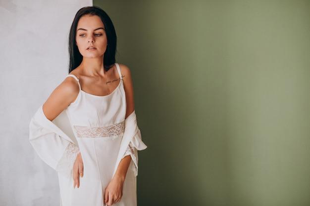 Young female model in sleeping underwear