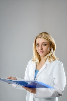 Young female scientist, tech or medical student