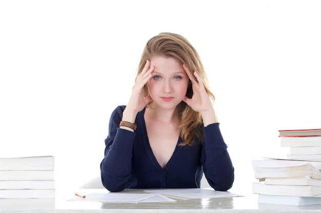 Young female student stressed out