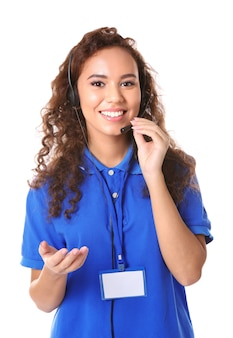 Young female technical support dispatcher on white space Premium Photo