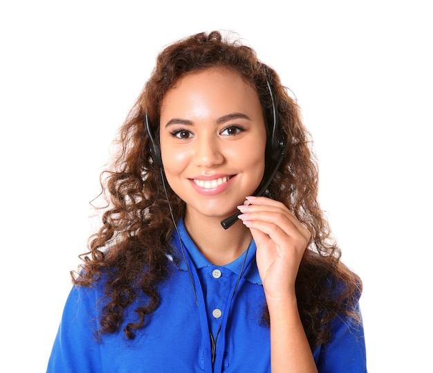 Young female technical support dispatcher on white surface