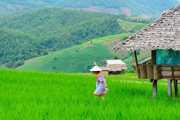 Молодая женщина гуляет и смотрит на путешественника рисового поля в шляпе, наслаждаясь прекрасным видом на рисовые поля