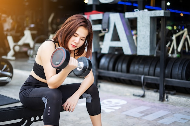 Young fitness woman execute exercise with exercise. fitness sport gym. women with dumbbell.