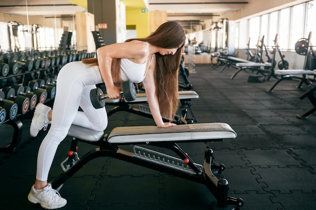 Young fitness woman lifting weights in the gymsportswear.