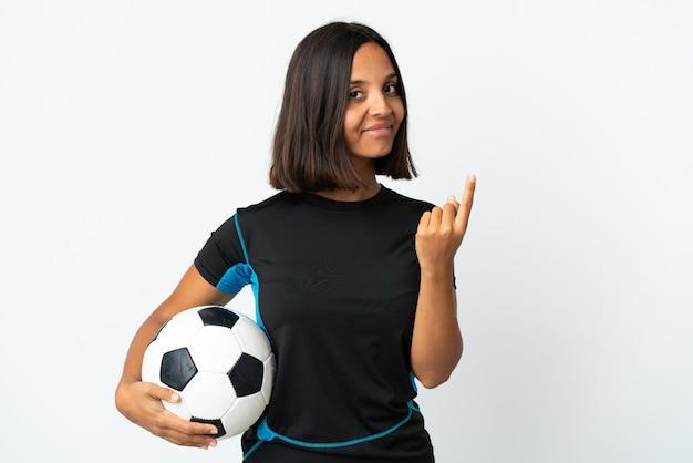 Женщина молодой футболист, изолированные на белом фоне, делая приближающийся жест