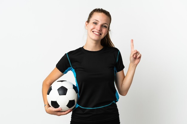 Young football player woman isolated on white wall showing and lifting a finger in sign of the best