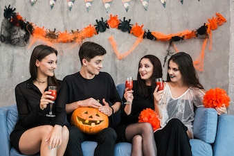 Young friends at halloween party