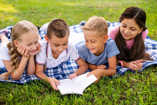 Young friends at picnic reading book