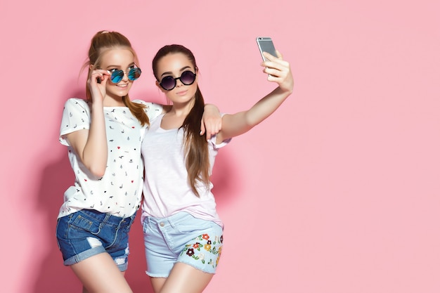 Young friends taking selfie
