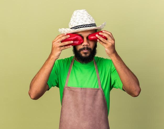 Giovane giardiniere afro-americano che indossa un cappello da giardinaggio che tiene pepe e mostra un gesto di sguardo isolato su un muro verde oliva