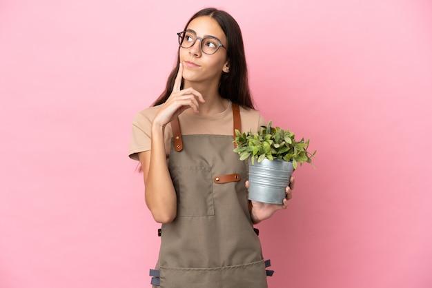 찾는 동안 의심을 갖는 분홍색 배경에 고립 된 식물을 들고 젊은 정원사 소녀