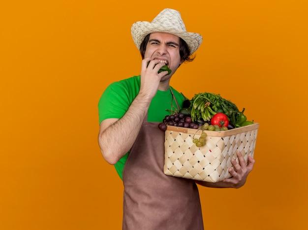 オレンジ色の背景の上に立っているキュウリを噛む野菜でいっぱいの木枠を保持しているエプロンと帽子の若い庭師の男