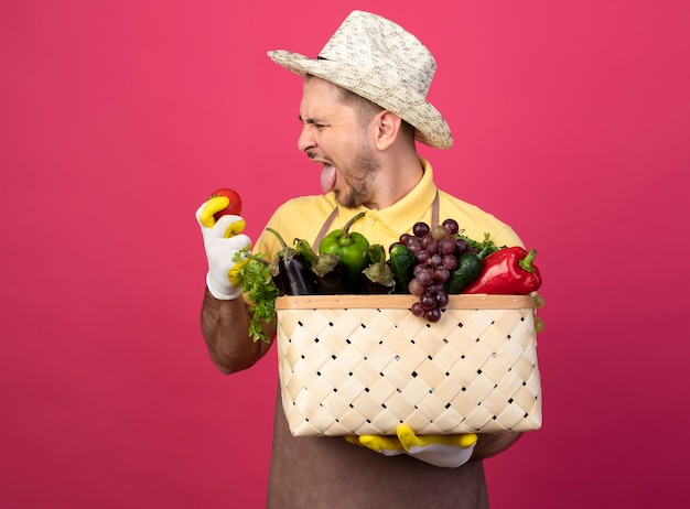 Young gardener man wearing jumpsuit and hat in working gloves holding crate full of vegetables looking at fresh tomato in hand with disgusted expression