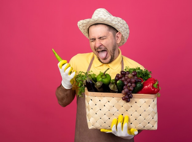 Young gardener man wearing jumpsuit and hat in working gloves holding crate full of vegetables with green chili peppper sticking out tongue with disgusted expression
