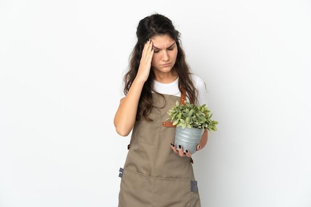 孤立した背景上の若い庭師
