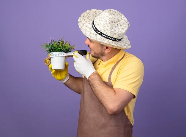 紫色の壁の上に立って興味をそそられるように見えるメジャーテープでそれを測定する鉢植えの植物を保持している作業手袋でジャンプスーツと帽子を身に着けている若い庭師