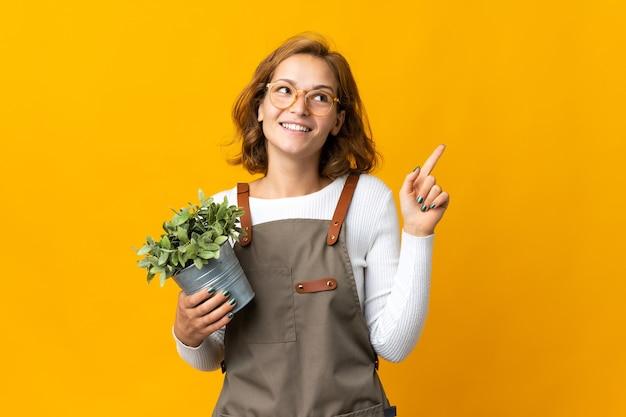좋은 아이디어를 가리키는 노란색 벽에 고립 된 식물을 들고 젊은 그루지야 여자