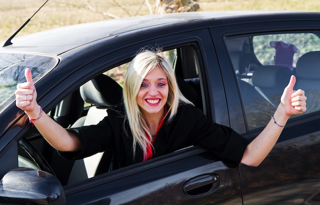 Young girl driving