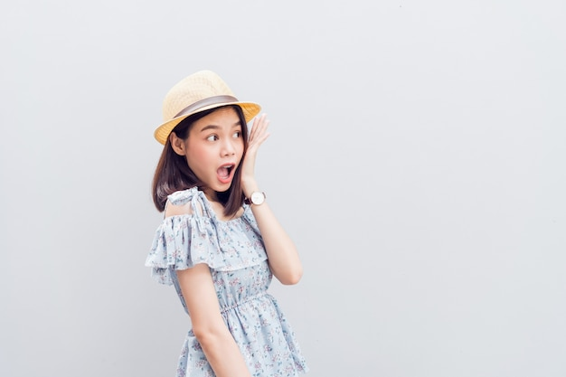 Young girl happy smile and cheerful in blue dress. concept summer travel.