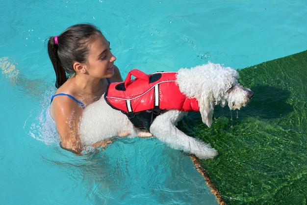 Young girl helping a little dog out of the water