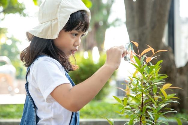 어린 소녀가 돋보기, 야외 촬영을 통해 나무 잎을 보고 있다