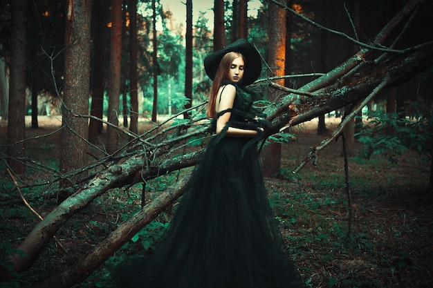 Young girl is posing wearing black dress in a dark forest