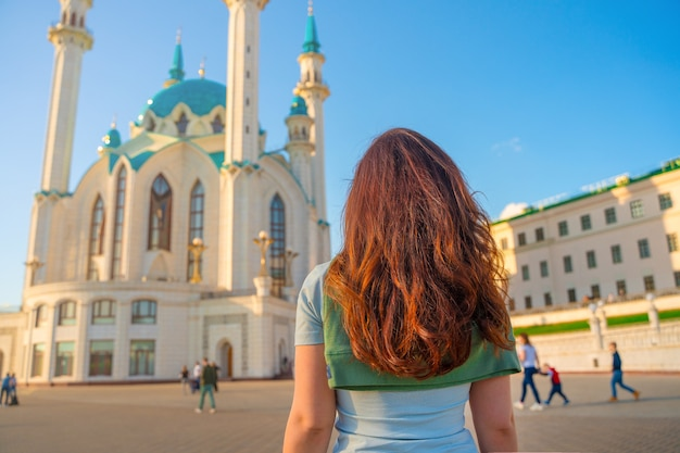 A young girl on a mosque in kazan
