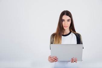 Young girl posing with lap top