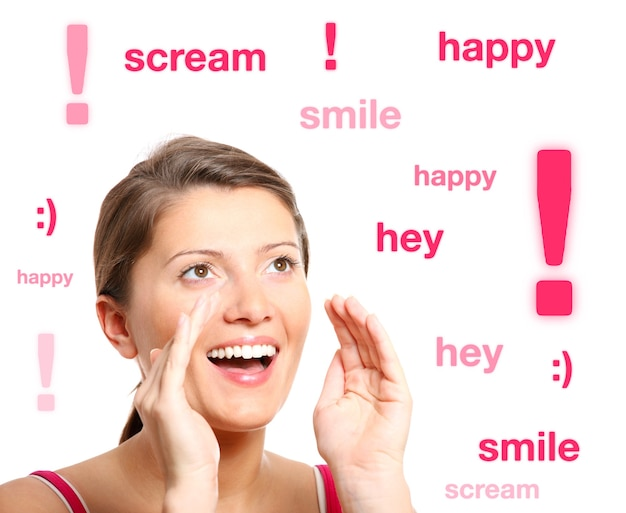 A young girl shouting out with happines over white background