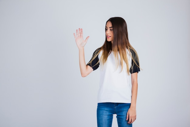 Young girl showing hand palm