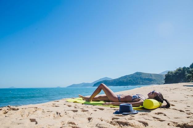 Young girl sunbathing
