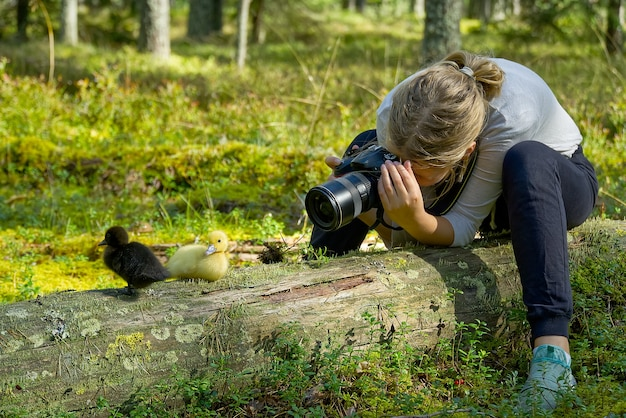 Young girl takes pictures of cute ducklings in the forest. learning in photographing children, trainee in nature. young girl learning to photograph