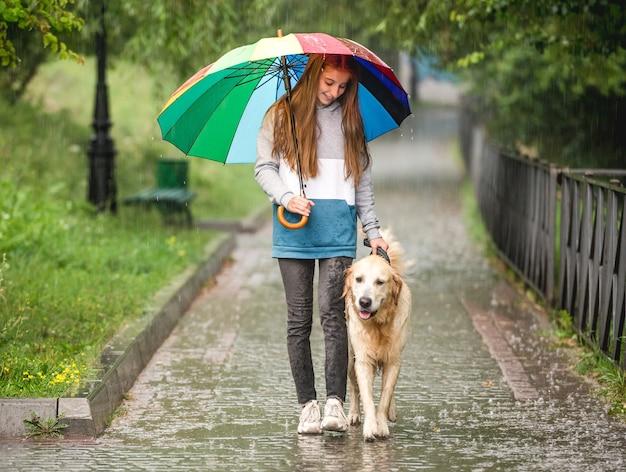 Young girl walking under rain with golden retriever dog