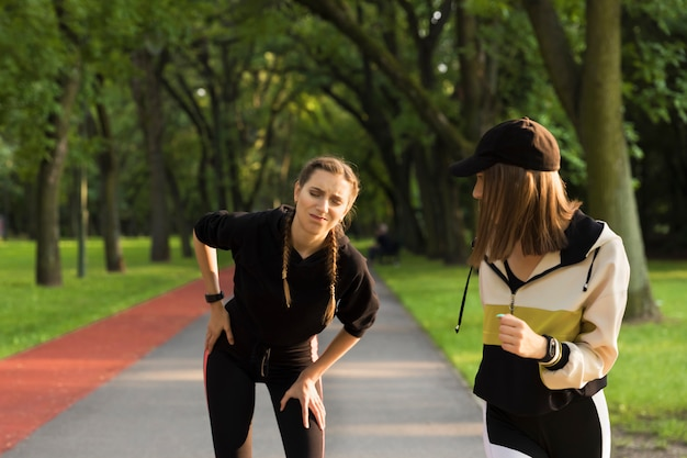 The young girl, while jogging in the park, became ill, she needed rest.