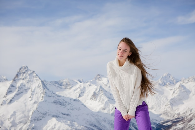 Young girl in a winter landscape