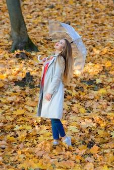 秋の公園の路地に傘を持つ少女