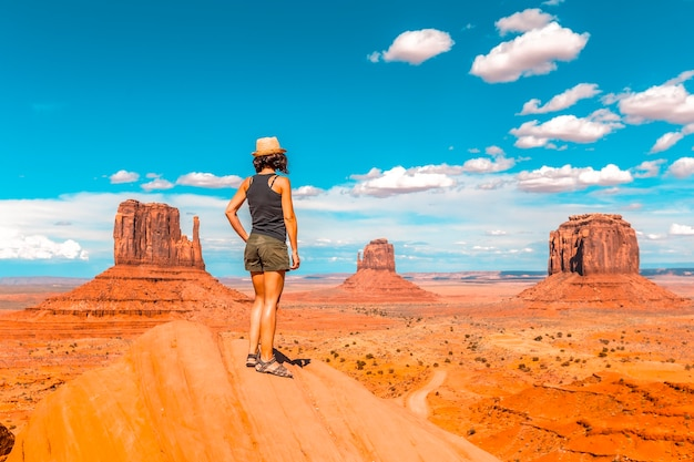 A young girl with black t-shirt in the monument valley national park in the visitor center.