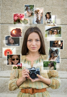 Young girl with retro camera and many images around her