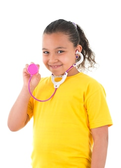 Young girl with a toy stethoscope