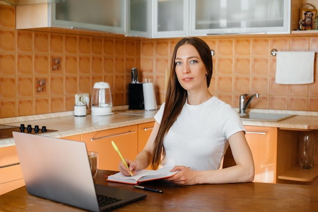 Young girl works at home on remote site. distance learning.
