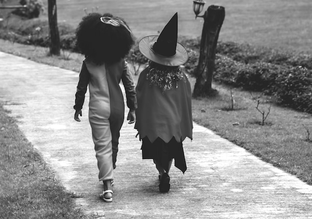 Young girls in halloween costumes