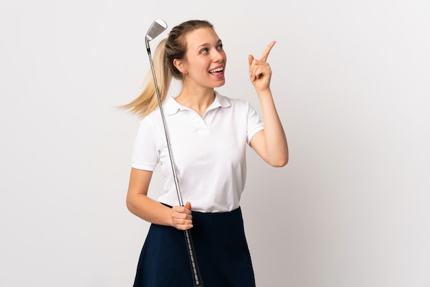 Young golfer woman over isolated white background pointing with the index finger a great idea