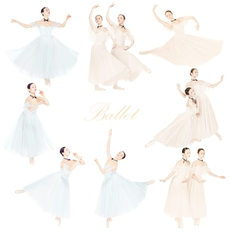 若い優雅なバレエダンサーまたは白い背景の上の古典的なバレリーナ。 2色の女性の美しいダンス。優雅さ、芸術家、現代、動きのコンセプト。抽象的なデザイン。クリエイティブなコラージュ。