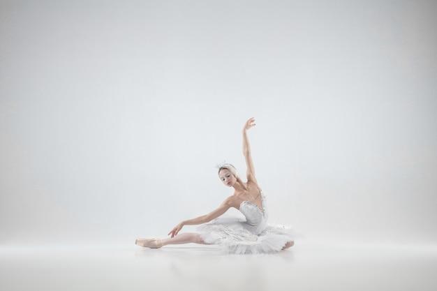 白い背景の上で踊る若い優雅な古典的なバレリーナ。