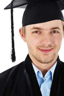 Молодой аспирант, диплом, изолированный с копией пространства