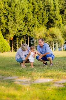 若い祖母と祖父が緑豊かな公園で彼女の孫娘と散歩に